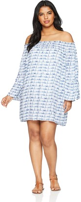 Jessica Simpson Women's Plus Size Off The Shoulder Swim Cover-Up