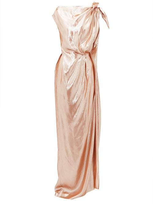 Roland Mouret Silvabella Gathered Silk Blend Lame Gown - Womens - Rose Gold