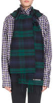 Balenciaga Tartan Hooded Wool Scarf, Blue/Green