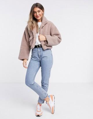 ASOS DESIGN cropped borg jacket in mauve