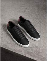 Burberry Perforated Check Leather Trainers , Size: 45, Black