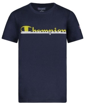 Champion Big Boys Panel Stripe Script Short Sleeve T-shirt