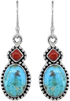Nitya Sterling Silver Blue Mohave Turquoise Red Coral Earrings