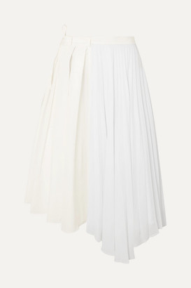 Maggie Marilyn Safe In Your Arms Pleated Cotton-blend Poplin And Crepe Wrap-effect Skirt - White
