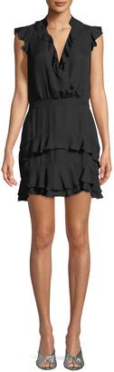 Parker Tangia Sleeveless Surplice Silk Ruffled Dress