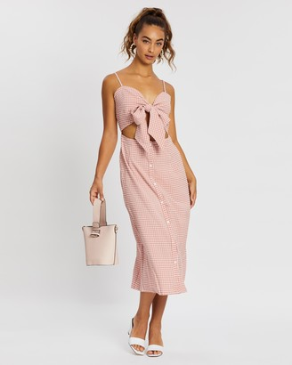 Missguided Tie Front Button Down Midi Dress