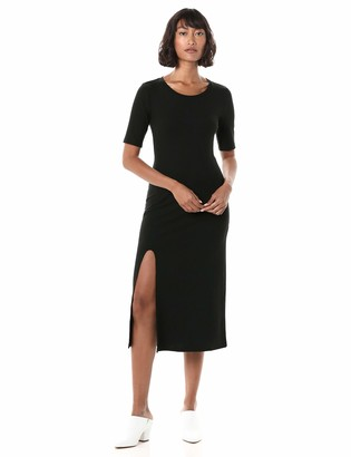 The Drop Women's Angela Fitted Short Sleeve Ribbed Crew Neck Midi Dress