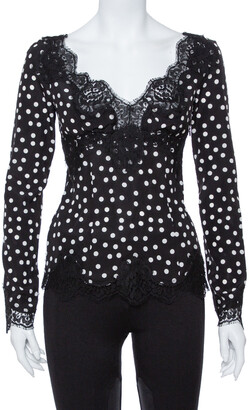 Dolce & Gabbana Monochrome Polka Dot Silk & Lace Detail Plunge Neck Top S