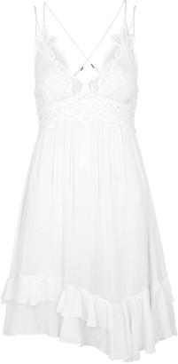 Free People Adella White Lace-trimmed Mini Dress