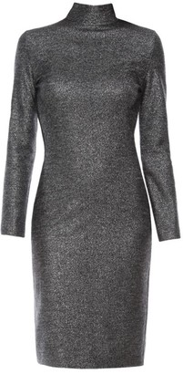 Piazza Sempione Jersey Lurex Turtleneck Dress