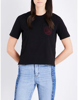 Maje Cat-embroidrered cotton-jersey T-shirt