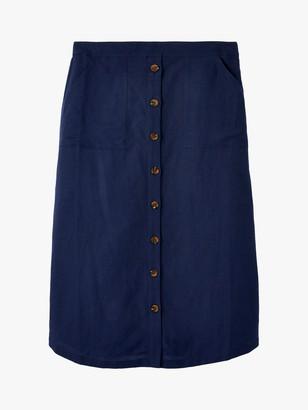 Joules Orielle Linen Blend Button Up Skirt, French Navy