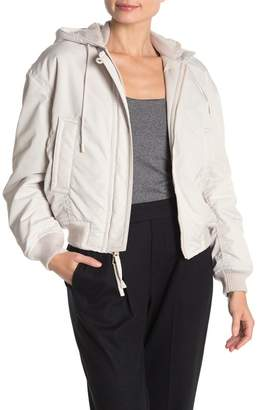 Vince Soft Faux Shearling Lined Bomber Jacket