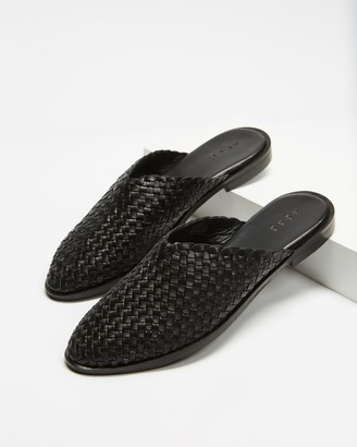 AERE - Women's Black Flat Sandals - Woven Leather Mule Flats - Size 6 at The Iconic