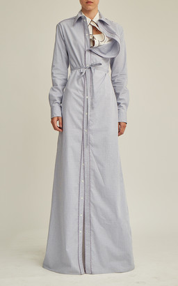 Y/Project Belted Asymmetric-Collar Cotton Maxi Shirt Dress
