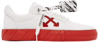Off-White White and Red Suede Vulcanized Low Sneakers
