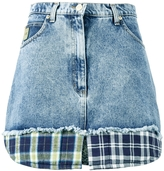 Natasha Zinko Check Print Trimmed Denim Mini Skirt