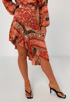 Missguided Red Paisley Print Satin Asymmetric Skirt
