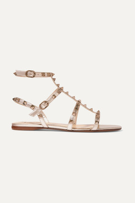 Valentino Garavani Rockstud Metallic Leather Sandals - Gold