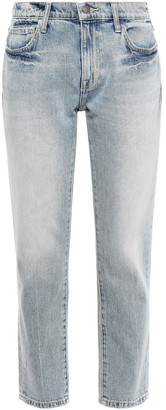 Current/Elliott Cropped Faded Mid-rise Straight-leg Jeans