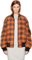 R 13 Reversible Multicolor Double Plaid Flight Jacket
