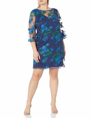Chetta B Women's Size Embroidered Bell Sleeve Dress Plus