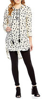 Moon River Lace-Up Neck Long Sleeve Hi-Low Tunic