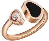 Chopard Happy Hearts Onyx & Diamond Open Ring in 18K Rose Gold, Size 54/55