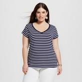 Women's Plus Size Favorite Tee Navy and White Stripe - Merona