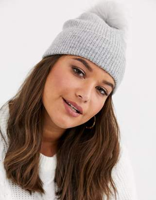 Asos Design DESIGN fluffy beanie hat with faux fur pom in gray