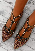 Pink Boutique Between Me and You Brown Leopard Print Studded Pumps