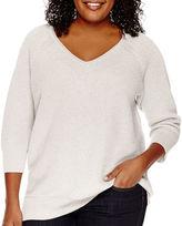 Liz Claiborne 3/4-Sleeve Metallic Sweater - Plus