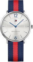 Tommy Hilfiger Men's Casual Sport Slim Navy and Red Striped Nylon Strap Watch 40mm 1791328