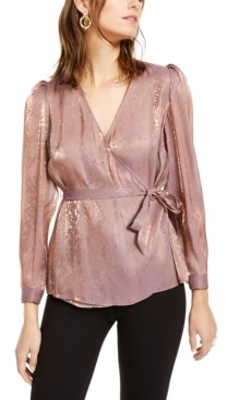 INC International Concepts Inc Metallic Snake-Embossed Wrap Top, Created for Macy's