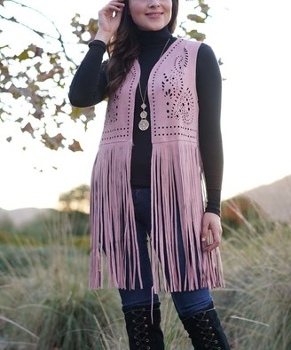 Ananda's Collection Women's Open Cardigans PINK - Pink Perforated Swirl Long-Fringe Open Vest - Women