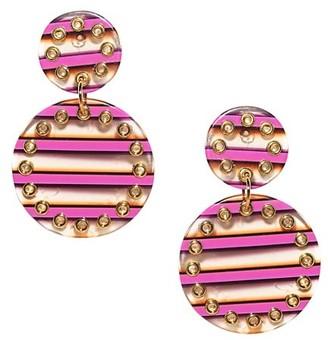 Lele Sadoughi Corset Double-Drop Striped Acetate Earrings