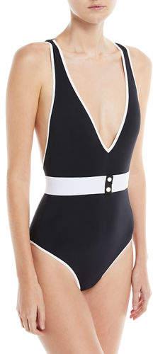 Diane von Furstenberg Deep V Belted One-Piece Swimsuit