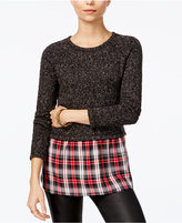Sanctuary Rock House Plaid-Contrast Sweater