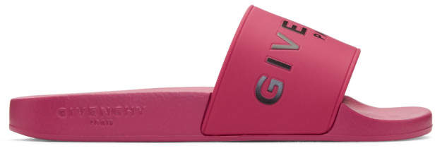 Givenchy Pink Rubber Logo Slides