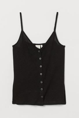 H&M Linen-blend Camisole Top - Black