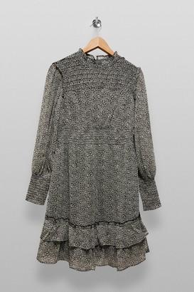 Topshop Womens **Maternity Black And White Leopard Print Pintuck Mini Dress - Monochrome
