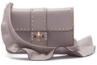 Valentino Rockstud Ruffle Strap Cross Body Leather Bag - Womens - Light Grey