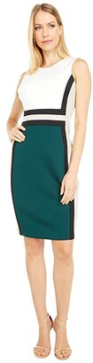 Calvin Klein Color-Block Sheath Dress (Cream Malachite Multi) Women's Dress