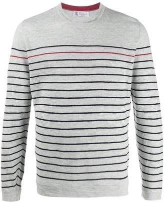 Brunello Cucinelli Striped Long-Sleeved Sweater