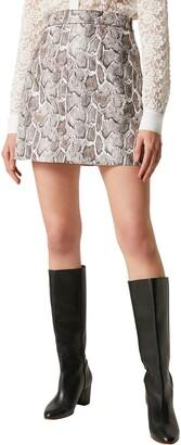 French Connection Elias Snake Print Miniskirt