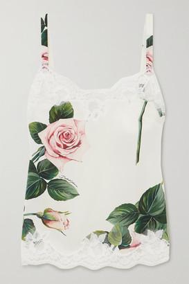 Dolce & Gabbana Lace-trimmed Floral-print Stretch Silk-blend Camisole - Cream
