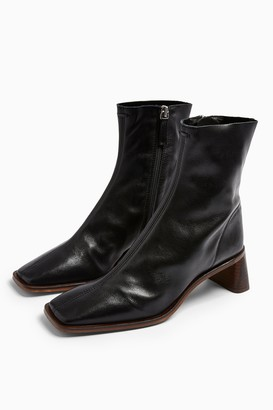 Topshop Womens Maja Leather Black Sock Boots - Black