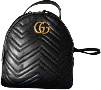 Gucci Marmont Black Leather Backpacks