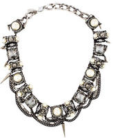 Erickson Beamon Crystal & Faux Pearl Spike Collar Necklace