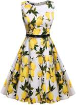 ACEVOG Round Collar Sleeveless Vintage Tea Dress with Belt (Black Printing, XXL)